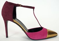 Gucci Suede Pointed Pink / Gold Pumps
