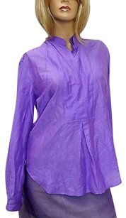 Gucci Cottonsilk Shirt Wgold Top Purple