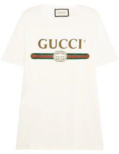 Gucci New Logo Print T Shirt Cream