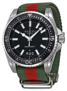 Gucci Dive Black Dial Red and Green Nylon Men's Watch.