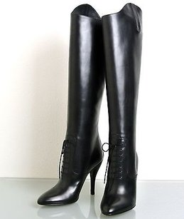 Gucci Elizabeth High Heel Leather Riding 304702 Black Boots