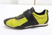 Gucci Black Neon Green Mesh Leather Velcro Flat Sneaker Athletic