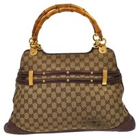 Gucci Gg Pattern Bamboo Hand Tote in Brown, Gold