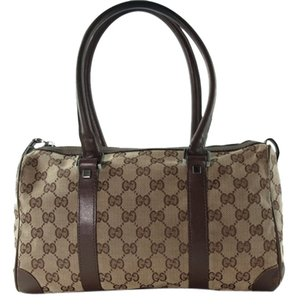 Gucci Gg Pattern Canvas Leather Browns Travel Bag