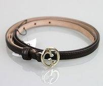 Gucci Gucci 1973 Slim Leather Belt Wdouble G Brown 9538 277371