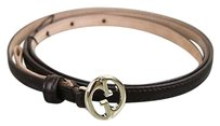 Gucci Gucci 1973 Slim Leather Belt Wdouble G Brown 95/38 277371