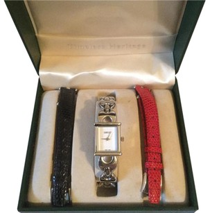 Gucci Gucci 3 in 1 Ladies Watch Silver Leather Red Black