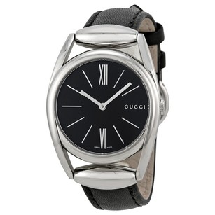 Gucci Gucci Black Dial Black Leather Ladies Watch