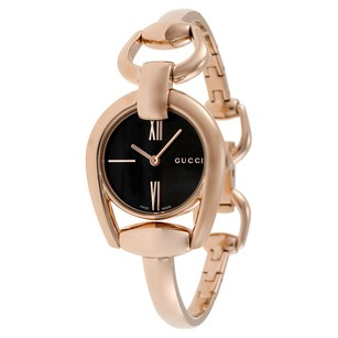 Gucci Gucci Black Dial Rose Gold PVD Ladies Watch