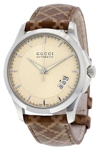 Gucci GUCCI G-Timeless Beige Dial Brown Diamante Leather Unisex Watch YA126421