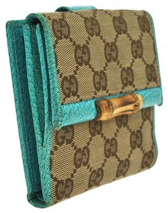 Gucci GUCCI GG Bamboo Bifold Wallet Brown Canvas Leather Italy VTG Box