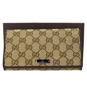 Gucci GUCCI GG Pattern Long Bifold Canvas Leather Brown Wallet Purse