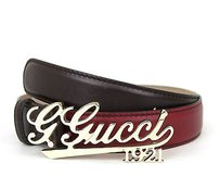 Gucci Gucci Leather Belt Wgucci 1921 Script Buckle 8534 Cherry 274198 6122
