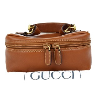 Gucci GUCCI Logos Leather Brown Cosmetics Pouch Vanity Bag