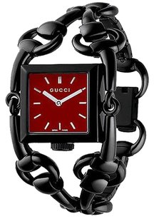 Gucci GUCCI Signoria Black Ion-Plated Stainless Red Dial Watch