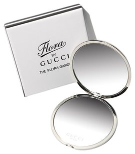 gucci Gucci Silver Flora Compact Make Up Makeup Compact Pocket Travel Mirror Cosmetic