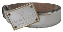 Gucci GUCCI SILVER LEATHER BELT & SQUARE LEATHER BUCKLE SIZE 34 MADE ITALY