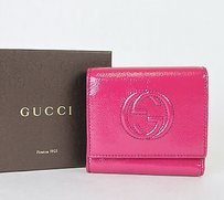 Gucci Gucci Soho Patent Leather Wallet Wcoin Purse Fuchsia 351485 5563