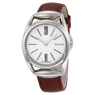 Gucci Gucci White Dial Brick Red Leather Strap Ladies Watch
