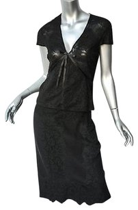 Gucci Gucci Womens Black Floral Lace Topskirt Cap-sleeve Semi-sheer Bow Set 4042