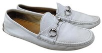 Gucci Horsebit Driving Loafers White Flats
