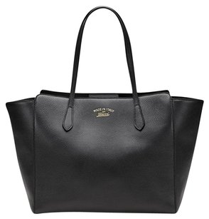 Gucci Italian Leather Signature Luxury Tote in Black