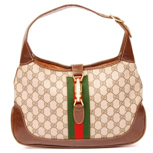 Gucci Jackie O Canvas Monogram Leather Hobo Bag