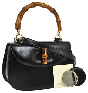 Gucci Jit11117598j Bamboo Vintage Satchel in Black, Gold