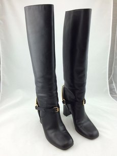 Gucci Leather Gold Black Boots