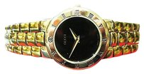 Gucci Ladies Gucci Ref. 3300.2.l Gold Plated Black Dial Roman Numeral Watch