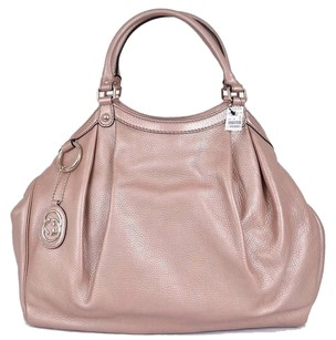Gucci Large Leather Gg Charm Tote in Pink