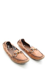 Gucci Tan Leather Brown Flats