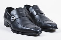 Mens Gucci Black Leather Silver-tone Gg Loafer Shoes D