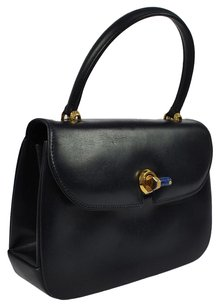 Gucci Logos Hand Navy Gold Tote in Black