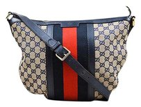 Gucci Beige Blue Red Canvas Cross Body Bag