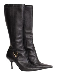 Gucci Pebbled Leather Pointed Toe Gold Buckle Knee Mid Calf 838 Black Boots