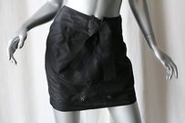 Gucci Black Silk Belted Urban Mini Skirt Blacks