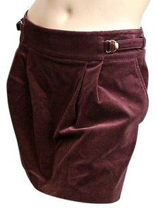 Gucci Velvet Whorsebit Mini Skirt Burgundy