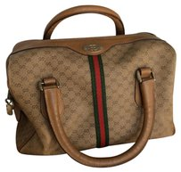 Gucci Monogram Boston Satchel in Brown And Beige
