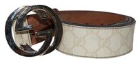 Gucci NEEDS PHOTOS Gucci Monogram Coated Canvas Gold Buckle Belt Sz 34 GGJY1