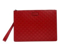 Gucci Red Embossed Clutch
