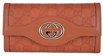 Gucci New Gucci 282434 GG Guccissima Burnt Orange Leather Sukey Continental Wallet