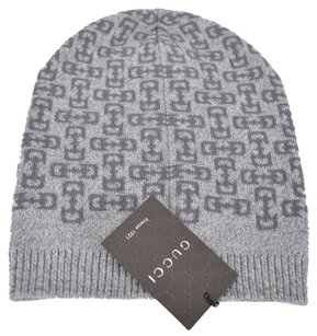 Gucci New Gucci Men's 369627 Light Grey Wool Horsebit Logo Slouchy Ski Hat Beanie