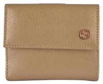 Gucci New Gucci Women's 309709 Gold Saffiano Leather Interlocking GG French Wallet