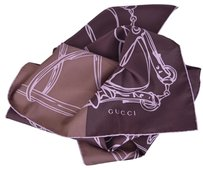 Gucci New Gucci Women's 323144 Dark Plum Wine and Taupe Horsebit Chain Scarf