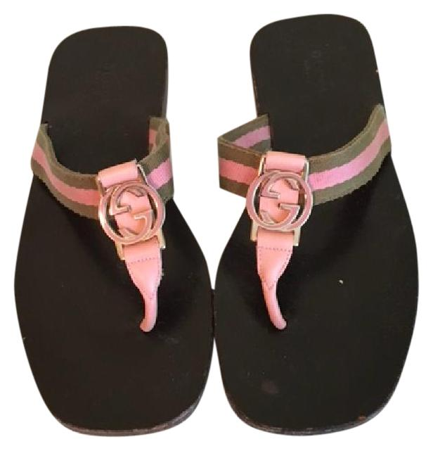 Gucci Pink and Green Sandals