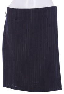 Gucci Pinstripe Wool Wrap Classic Skirt Navy