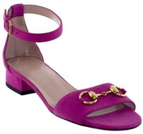 Gucci 338776 Womens Suede Horsebit Ankle Strap Fuchsia Bright Bouganville Sandals