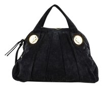 Gucci Suede Ghw Pleated Double Handle Hysteria Satchel in Black