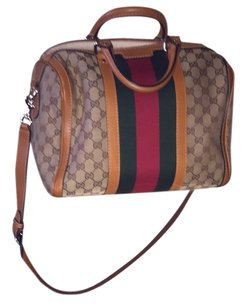 Gucci Satchel in Red. Green. With tan leather